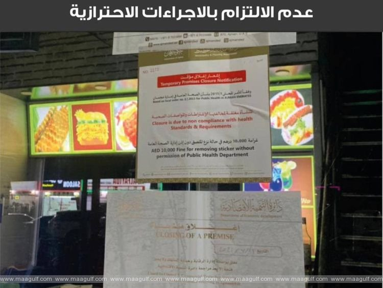 2 restaurants,1 barber shop closed in Ajman over violation of safety norms